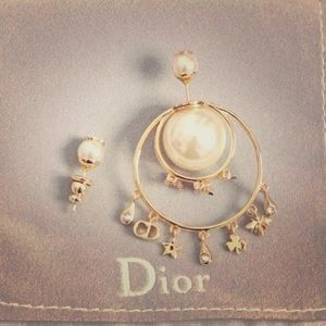 Auth Used Dior CD Gold Crystal Pearls Earrings
